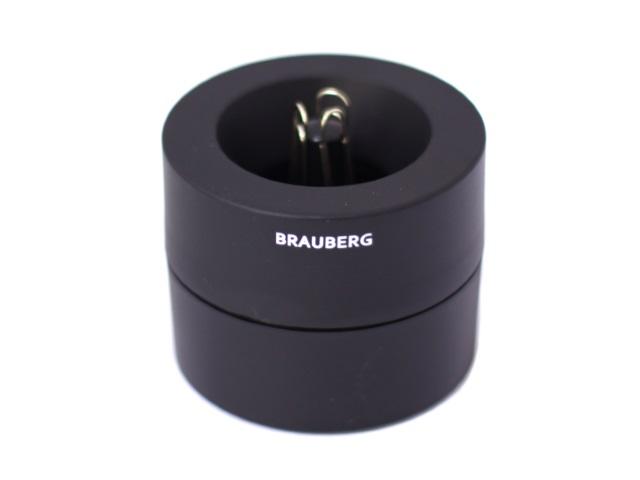 Бокс для скрепок магнитный круглый черный, Brauberg 225191