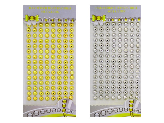 Наклейки Стразы Полубусины 9*23 см ассорти S-2101