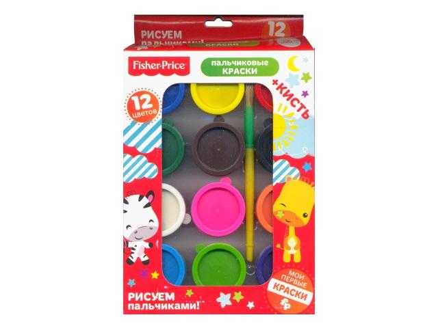 Краски пальчиковые 12 цветов по 25 мл Fisher Price 10008
