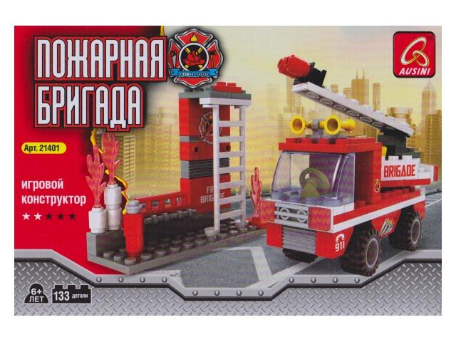 Конструктор 133 детали Пожарная бригада 21401