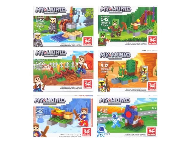Конструктор  29-35 деталей My World Minecraft микс Tenma 7004