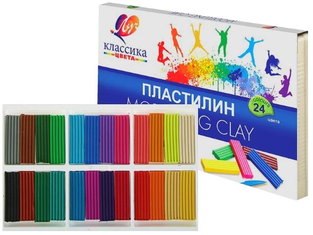 Пластилин 24 цвета Луч Классика 480г 28С 1642-08