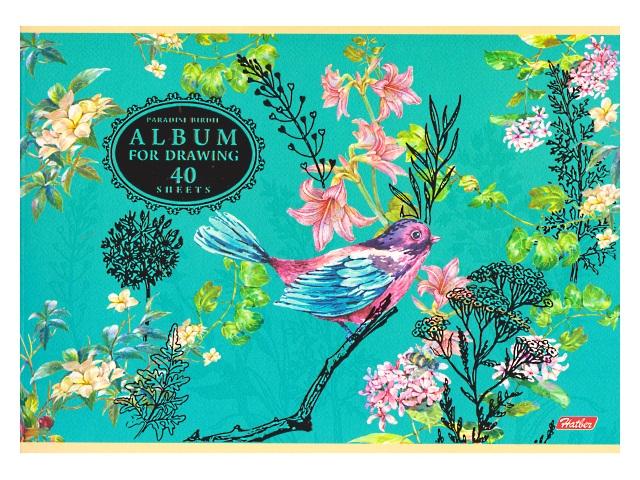 Альбом 40л А4 на скобах Райские пташки 3D 100 г/м2 Hatber 40А4лофлВ_17283