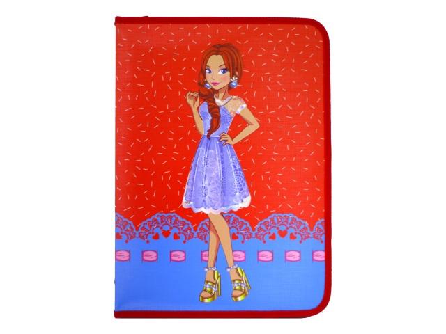 Папка для труда А4 на молнии картон Модница в платье Пчелка ПТР-7