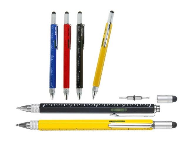 Ручка шар повор Mazari мет син 1мм 4в1 уровень отвертка линейка стилус M-7351-70