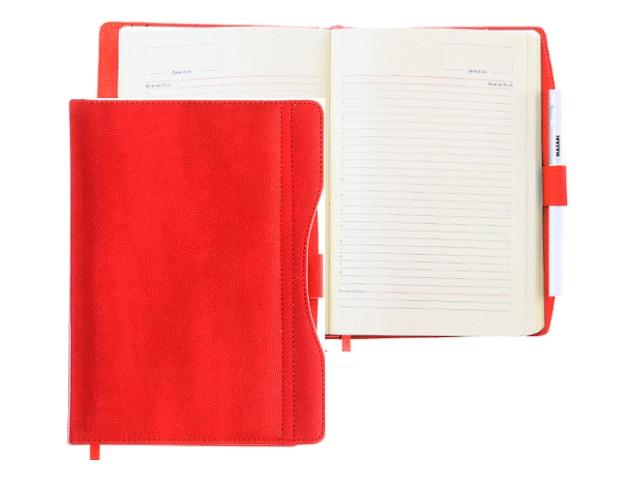 Ежедневник А5 кожзам 136л красный Mazari M-3593-72