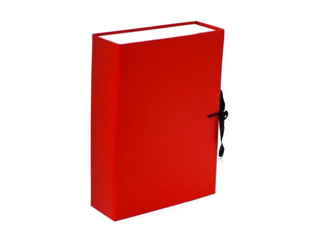 Папка архивная бумвинил на завязках А4  8см красная КСБ4080-201