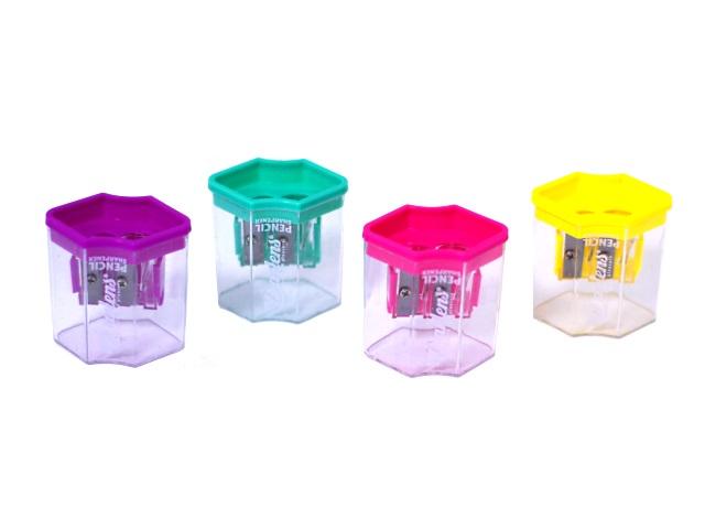 Точилка с контейнером двойная цветная DL-HBB00083