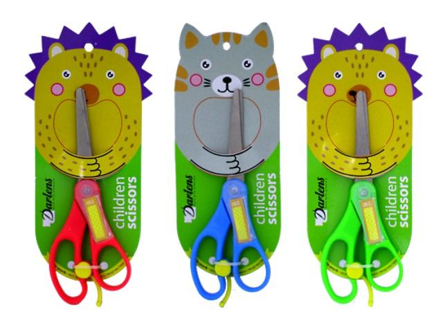 Ножницы детские 14 см с фиксатором пластиковые ручки Котик. Ежик DL-DRL00127-128