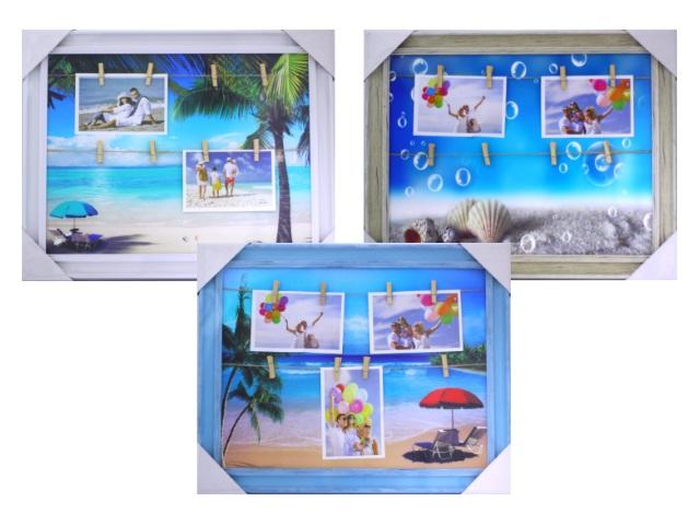 Фоторамка Коллаж 40*50 см Багет Пляж с прищепками E15134