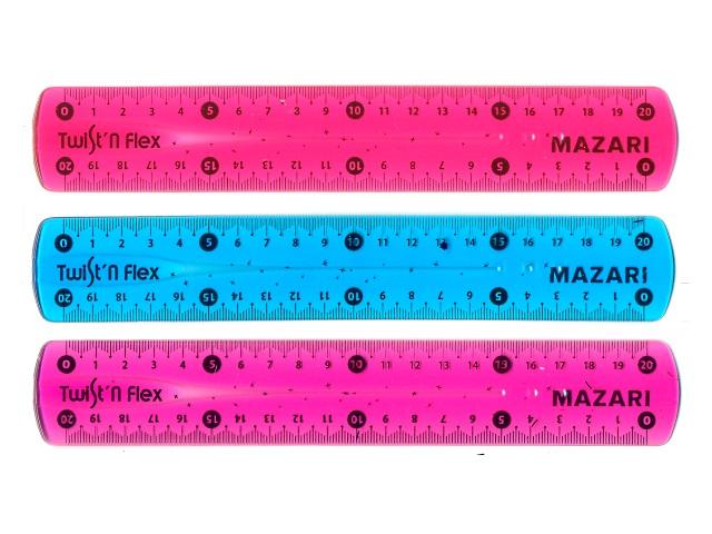 Линейка  20 см гибкая цветная Mazari М-5571