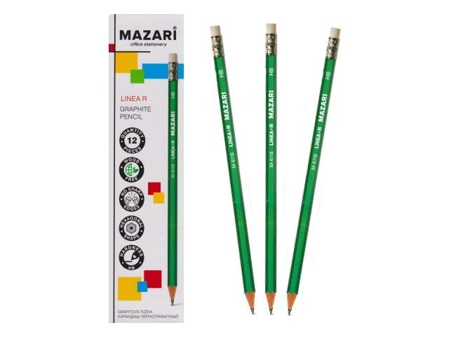 Карандаш HB Mazari Linea R шестигранный с ластиком М-6118