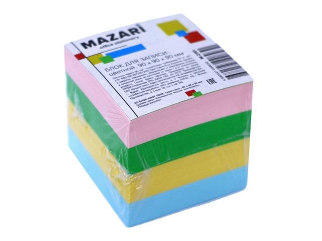 Блок бумажный цветной  90*90 мм 900л Mazari М-2191