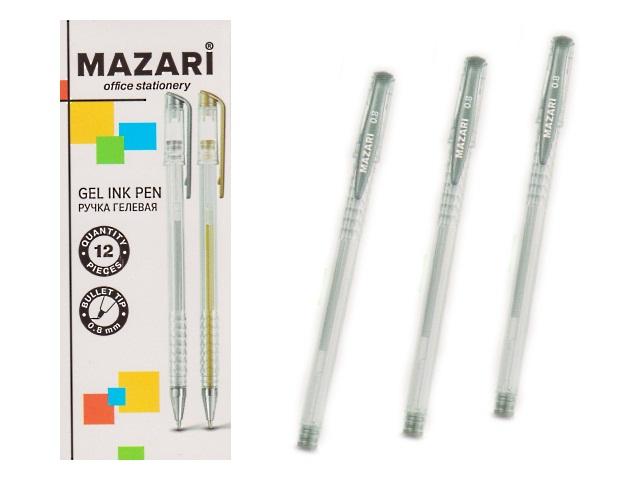 Ручка гелевая Mazari Rain серебро 0.8мм М-5551-95