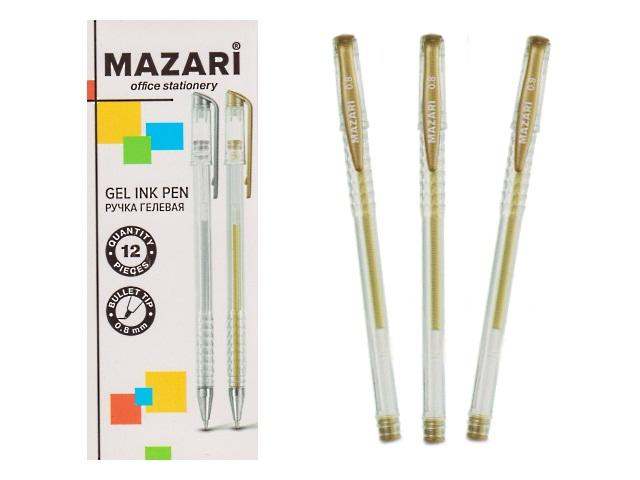 Ручка гелевая Mazari Autumn золотая 0.8мм М-5551-96
