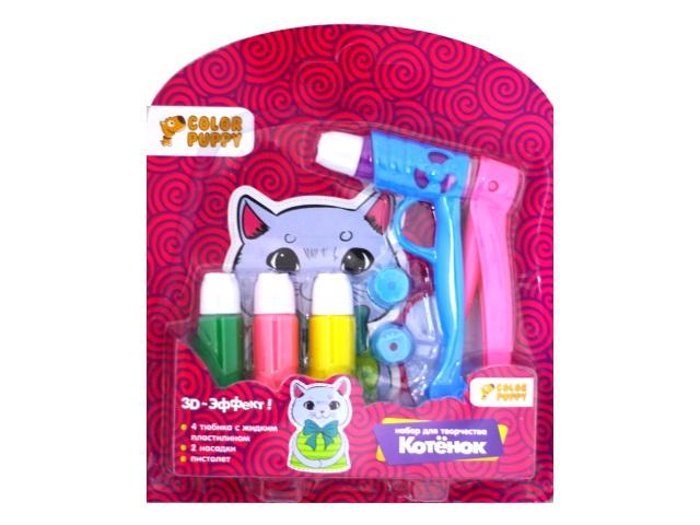 Жидкий пластилин с пистолетом и насадками 4 цвета Котенок 95335