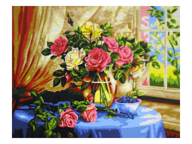 Картина по номерам 40*50см Розы у окна МосФа 7C-0105
