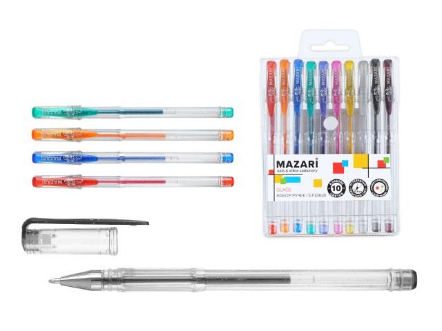 Ручка гелевая детская набор 10цв Mazari Glace 0.8мм с глиттером M-5512-10