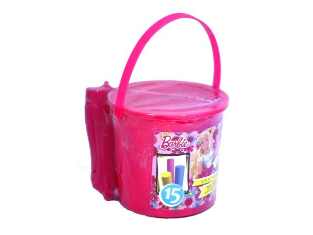 Мел для асфальта 15 шт. с держателем в ведре Barbie 455727