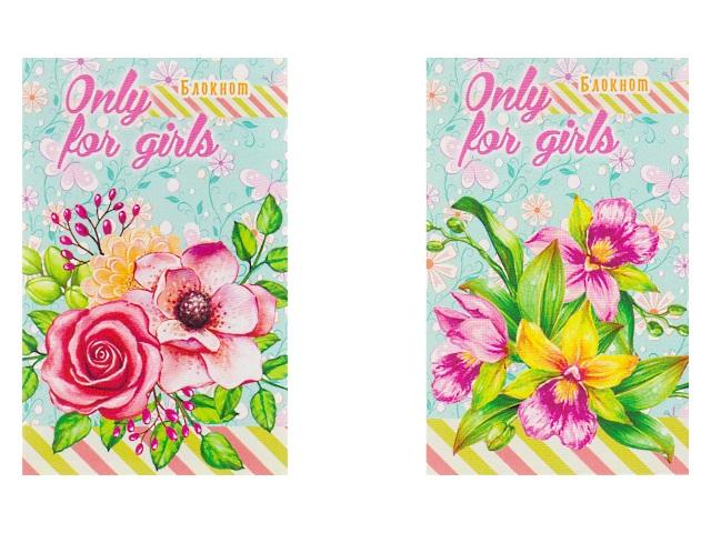 Блокнот А7 клееный м/обложка  48л Цветы для девочек-1 Prof Press Б48-6983