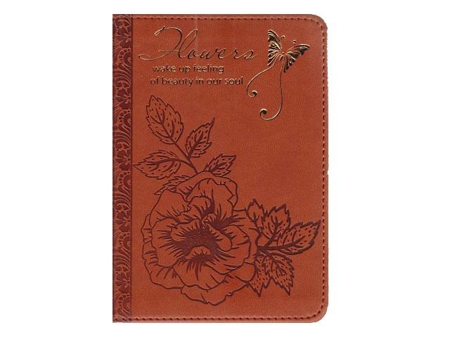 Записная книжка А6 кожзам 160л Цветок и мотылек-6 коричневый Collezione 160-1125