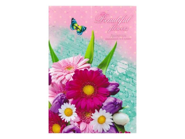Дневник 1-4кл тв/переплёт Бабочки и букет Prof Press Д48-1644