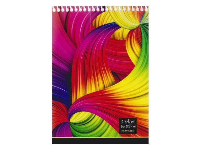 Блокнот А5 спираль сверху м/обложка  48л Цветные волны Prof Press Б48-2628