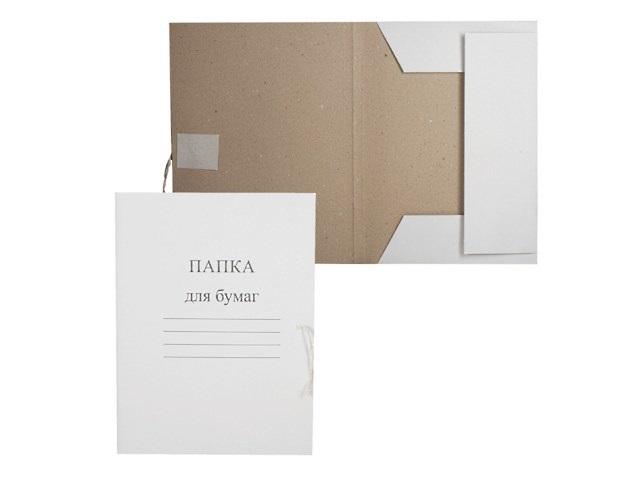 Папка на завязках картон А4 белая 280 г/м2 PancarТ 122292