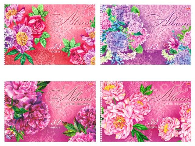 Альбом 32л А4 спираль Роскошные цветы 100 г/м2 Hatber 32А4блВсп_16255