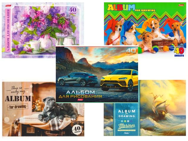 Альбом 40л А4 на скобах Ассорти 100 г/м2 Hatber 40А4В