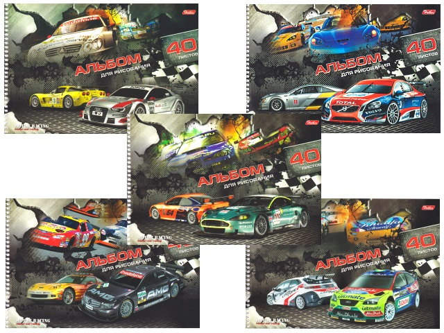 Альбом 40л А4 спираль Motor Racing 100 г/м2 Hatber 40А4вмВсп_09584