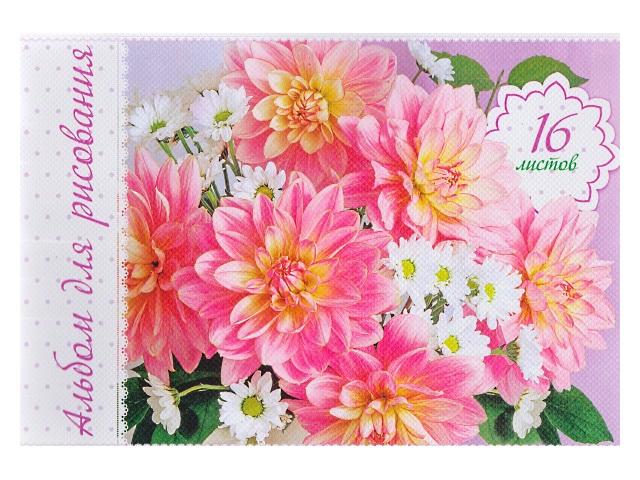 Альбом 16л А4 на скобах Нежные цветы 100 г/м2 Hatber 16А4тС_11592