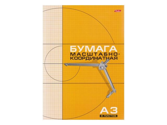 Бумага миллиметровая А3  8л 295*420 мм оранжевая на скобе Hatber 8Бм3_03410