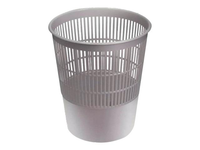 Корзина для бумаг пластик сетка круглая 18л серая Стамм КР02