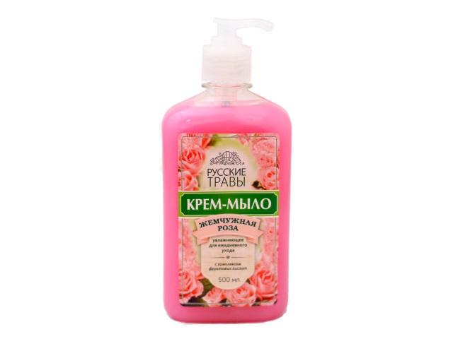 Мыло жидкое 500 мл с дозатором Жемчужная роза Русские травы К11-18