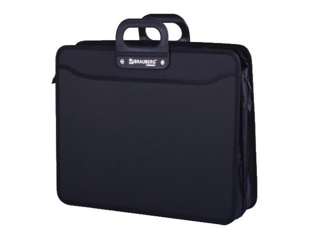 Портфель А3  2 отделения пластик черный на молнии Brauberg 223081