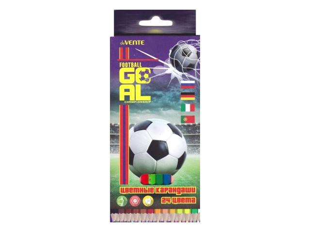Карандаши цветные 24цв DeVente Goal шестигранные 5024805