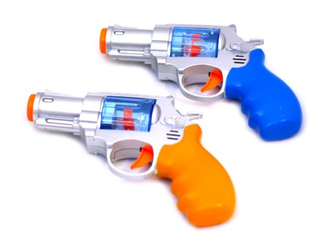 Пистолет на батарейках 20см цветной 5500