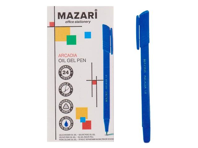 Ручка масляная Mazari Arcadia синяя 1мм трехгранная М-5714-70