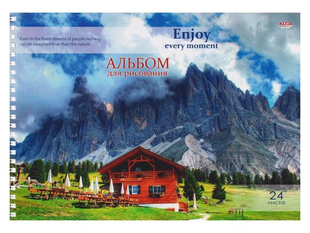 Альбом 24л А4 спираль Дом у подножия гор 100 г/м2 Prof Press 24-1268