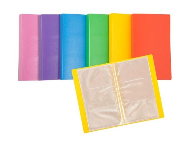 Визитница на 180 карт 11*19.2см пластик Tropic цветная Бюрократ 816129 TR180K
