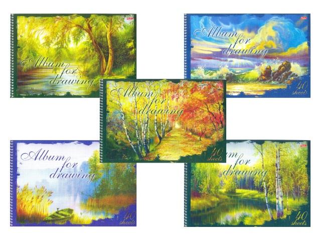 Альбом 40л А4 спираль Поэзия природы 100 г/м2 Hatber 40А4Всп_18301