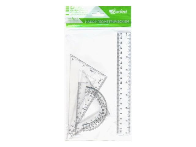 Набор чертёжный 4 предмета 20 см прозрачный DRL00148