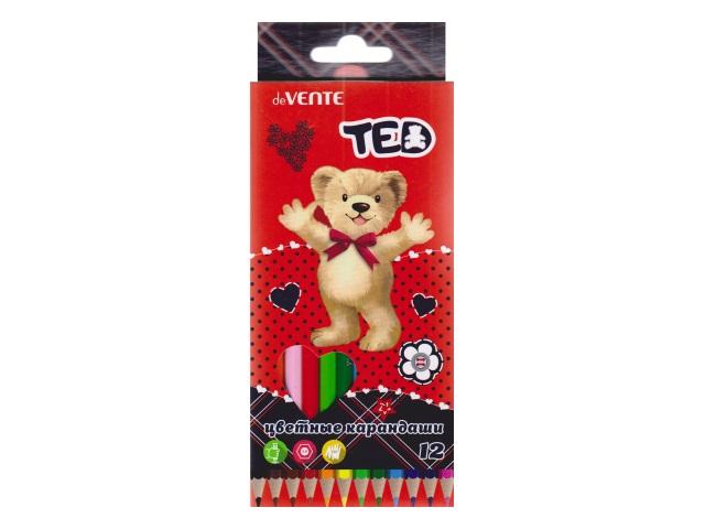 Карандаши цветные 12цв DeVente Мишка Ted шестигранные 5022800