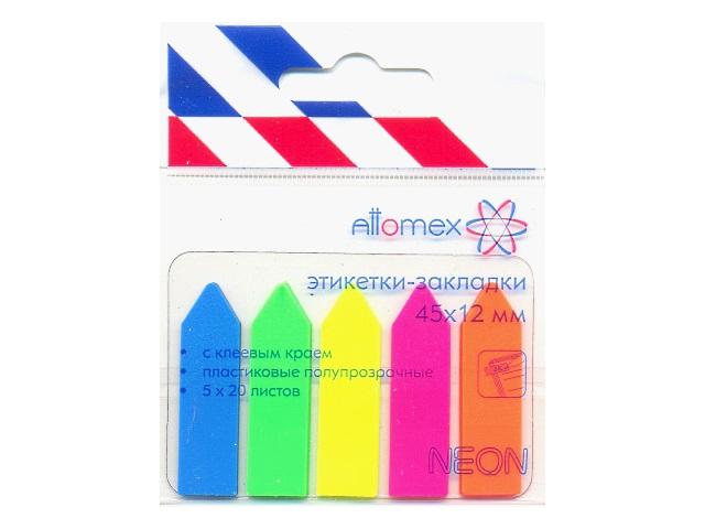Стикер-закладка 45*12мм 5 цветов по 20л пластик неон Attomex 2011700
