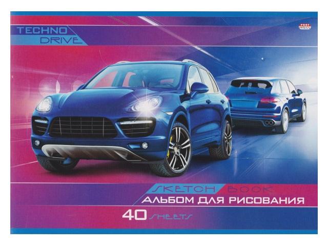 Альбом 40л А4 на скобах Синий автомобиль 100 г/м2 Prof Press 40-6129