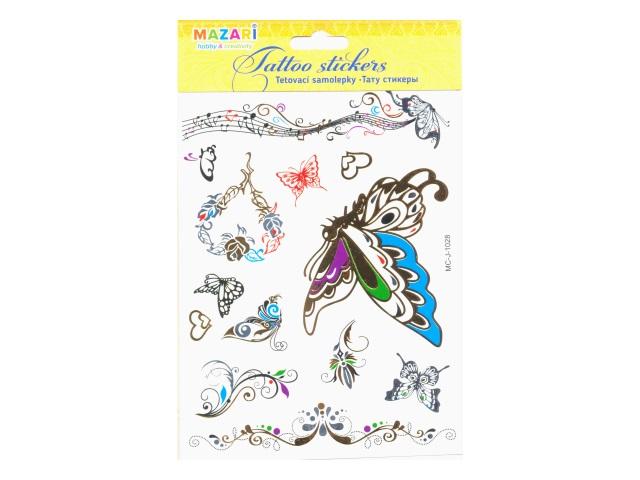 Наклейки тату Цветные ассорти Mazari М-8736