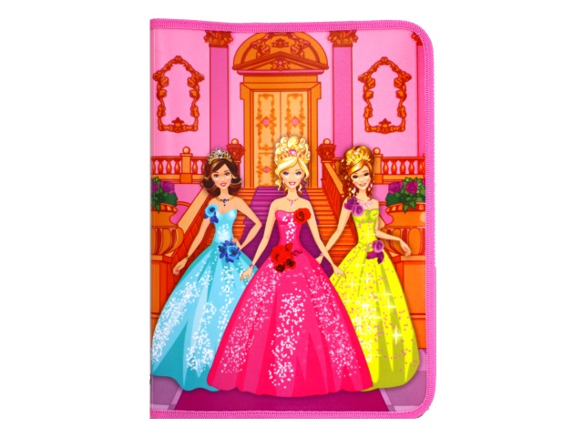 Папка для труда А4 пластик на молнии с отворотом Три принцессы Пчелка ПТР-5