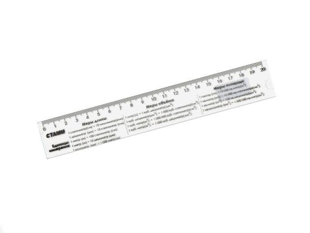 Линейка  20 см прозрачная Единицы измерения Стамм ЛС01