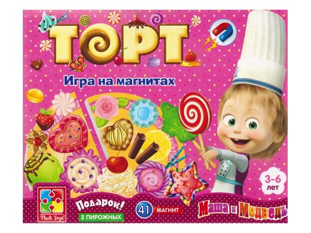 Игра магнитная 47 деталей Торт Маша и медведь VT3003-01